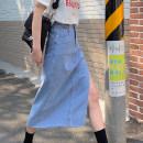 skirt Summer 2021 S,M,L,XL Blue, black Mid length dress commute High waist Denim skirt Type A 18-24 years old 4@12 other other Korean version