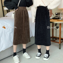 skirt Spring 2021 Average size Black, brown Mid length dress commute High waist A-line skirt Solid color Type A 18-24 years old Korean version