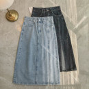 skirt Spring 2021 S,M,L,XL Light blue, black blue Mid length dress High waist A-line skirt other 18-24 years old other Other / other