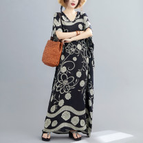 Women's large Summer 2021 black One size fits all [120-260 kg recommended] Dress singleton  commute easy moderate Socket Short sleeve Decor Korean version V-neck cotton printing and dyeing Bat sleeve Other / other Resin fixation longuette other