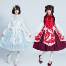 Dress Winter of 2019 White dress, red dress, white long sleeve shirt, red long sleeve shirt, white dress + white long sleeve shirt, red dress + red long sleeve shirt S,M,L Mid length dress Two piece set Long sleeves Sweet stand collar High waist Animal design Cake skirt routine Others other Lolita