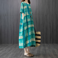 Dress Summer 2020 Yellow green M L Mid length dress singleton  Short sleeve commute Crew neck Loose waist lattice Socket other other Others 35-39 years old Ten evening cotton Korean version Pocket stitching 51% (inclusive) - 70% (inclusive) cotton Cotton 55% others 45% Pure e-commerce (online only)