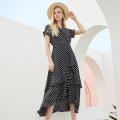 Dress Summer 2021 Black white dots S,M,L,XL longuette singleton  Short sleeve commute V-neck High waist Dot Socket Irregular skirt Sleeve Others 30-34 years old Type A SJU lady ZS-2021-101 More than 95% other silk