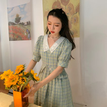 Dress Summer 2020 XS,S,M,L longuette singleton  elbow sleeve commute V-neck High waist lattice Socket A-line skirt routine Type A Made by Yu Xiaoping Retro Three dimensional decoration