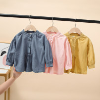 shirt Yellow, blue, pink Other / other female 100 = 7, 110 = 9, 120 = 11, 130 = 13, 135 = 15 spring and autumn Long sleeves leisure time other other Lapel crew neck Other 100% Class B
