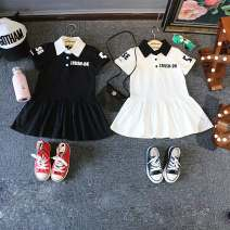 Dress Black, white female Other / other 90 = 7, 100 = 9, 110 = 11, 120 = 13, 130 = 15 Other 100% summer Korean version Short sleeve other cotton Lotus leaf edge 2 years old, 3 years old, 4 years old, 5 years old, 6 years old, 7 years old