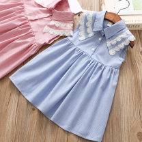 Dress Blue, pink female Other / other 100 = 7, 110 = 9, 120 = 11, 130 = 13, 135 = 15, 145 = 17, 155 = 19 Other 100% summer Korean version Skirt / vest lattice Lotus leaf edge Class B 2, 3, 4, 5, 6, 7, 8, 9, 10, 11, 12, 13, 14 years old