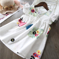Dress white female Other / other Other 100% summer Skirt / vest other blending A-line skirt 2 years old, 3 years old, 4 years old, 5 years old, 6 years old, 7 years old, 8 years old