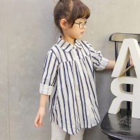 shirt As shown in the figure Other / other female spring and autumn Long sleeves leisure time stripe cotton Lapel and pointed collar Class B