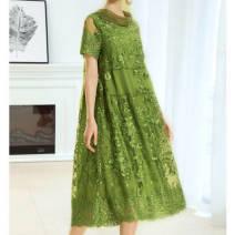 Dress Summer 2020 green M,L,XL,2XL,3XL,4XL Mid length dress singleton  Short sleeve High waist Solid color A-line skirt routine