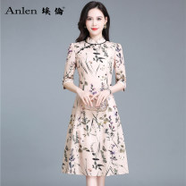 Dress Spring 2021 Broken flowers M L XL 2XL 3XL Mid length dress singleton  elbow sleeve commute stand collar middle-waisted Decor Socket A-line skirt routine 30-34 years old Type A Ellen Retro printing AL20655 More than 95% polyester fiber Polyester 100% Pure e-commerce (online only)