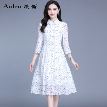 Dress Spring 2021 Blue dot on white background M L XL 2XL 3XL Mid length dress singleton  Long sleeves commute Polo collar middle-waisted Dot Socket A-line skirt routine 35-39 years old Type A Ellen Korean version printing AL20658 More than 95% Chiffon polyester fiber Polyester 100%