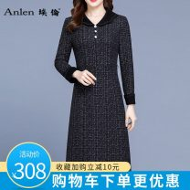 Dress Spring 2021 black M L XL 2XL 3XL Mid length dress singleton  Long sleeves commute Doll Collar middle-waisted lattice Socket A-line skirt routine 40-49 years old Type A Ellen Korean version pocket AL20551FX More than 95% polyester fiber Polyester 100% Pure e-commerce (online only)