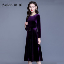 Dress Spring of 2019 5 days in advance M L XL 2XL 3XL Mid length dress singleton  Long sleeves commute Crew neck middle-waisted Solid color Socket A-line skirt routine Others 35-39 years old Type A Ellen Simplicity Lace up zipper AL19E1011 More than 95% polyester fiber Pure e-commerce (online only)