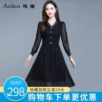 Dress Spring 2021 black M L XL 2XL 3XL Mid length dress singleton  Long sleeves commute V-neck middle-waisted Solid color Socket A-line skirt routine 35-39 years old Type A Ellen Korean version Splicing AL20643 More than 95% polyester fiber Polyester 100% Pure e-commerce (online only)