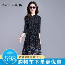 Dress Spring of 2019 Black pre-sale for 7 days M L XL 2XL 3XL Mid length dress singleton  three quarter sleeve commute other middle-waisted Broken flowers Socket A-line skirt routine Others 35-39 years old Type A Ellen Retro Multi button zipper print AL19198 More than 95% Silk and satin silk
