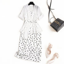 Dress Summer 2021 white S,M,L,XL,2XL Mid length dress Two piece set V-neck High waist zipper A-line skirt F491 Chiffon
