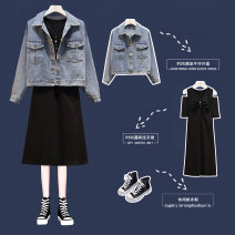 Women's large Spring 2020 6201 suit, single skirt Large XL, large XXL, large XXL, large XXXXL, large L Dress Two piece set commute easy moderate Socket Long sleeves Solid color Korean version V-neck Medium length Denim, cotton Three dimensional cutting raglan sleeve 25-29 years old Embroidery other