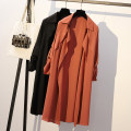 Women's large Spring of 2019 Black, orange Large XL, large XXL, large XXL Windbreaker singleton  commute easy thin Cardigan Long sleeves Solid color Korean version Half open collar Medium length polyester Three dimensional cutting raglan sleeve Other / other 81% (inclusive) - 90% (inclusive)