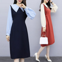 Women's large Spring 2020 Blue, orange Large XL, large XXL, large XXL, large XXXXL, large XXXXL Dress singleton  commute Self cultivation moderate Socket Long sleeves Solid color Korean version Double collar Medium length cotton Collage Princess sleeve 25-29 years old Bandage Medium length other