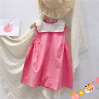 Dress Pink, pink (pre-sale) female Other / other 48,90cm,100cm,110cm,120cm,130cm,140cm,150cm Cotton 95% other 5% summer Korean version Short sleeve Solid color cotton A-line skirt 2 years old, 3 years old, 4 years old, 5 years old, 6 years old