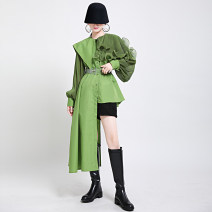 shirt White, black, green Average size Winter 2020 polyester fiber 96% and above Long sleeves commute Medium length square neck Single row multi button bishop sleeve Solid color 25-29 years old Straight cylinder Other / other court polyester cotton
