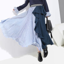skirt Spring 2020 Average size Blue, black longuette street High waist Pleated skirt Solid color Type A 25-29 years old More than 95% other Other / other polyester fiber Ruffles, stitching 121g / m ^ 2 (including) - 140g / m ^ 2 (including) Europe and America