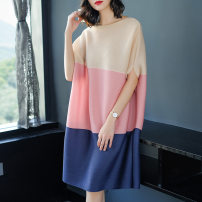 Dress Spring 2020 Average size Middle-skirt singleton  Short sleeve street Crew neck Loose waist Solid color Socket A-line skirt Bat sleeve Others Type A other Europe and America