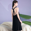 Nightdress Other / other sexy Sleeveless Leisure home Middle-skirt summer Solid color youth Crew neck cotton Hollowing out Modal fabric