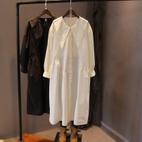 Dress Spring 2021 Black, off white Single code number Mid length dress singleton  Long sleeves commute Solid color Single breasted routine Baorui literature More than 95% cotton