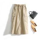 skirt Spring 2021 Average size Green, black, beige, hip circumference less than or equal to 110 cm commute Solid color cotton pocket