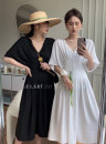 Dress Spring 2021 Black, white S, M Mid length dress singleton  V-neck Solid color