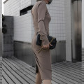 Dress Spring of 2019 Black, coffee, mocha S,M,L,XL Mid length dress singleton  Long sleeves commute One word collar Elastic waist Solid color Socket One pace skirt other 30-34 years old Type X ZIA ZHANG Simplicity Open back, swallow tail, stitching, pocket 31% (inclusive) - 50% (inclusive) other