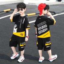 suit Chrome Anta wild goose Red, black, white 110cm,170cm,120cm,140cm,130cm,160cm,150cm male summer Korean version Short sleeve + pants 2 pieces Thin money There are models in the real shooting Socket nothing Cartoon animation cotton children Expression of love B1026 Class B Other 100% Hubei province