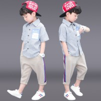 suit Chrome Anta wild goose Blue, yellow, pink male summer motion Short sleeve + pants 2 pieces Thin money There are models in the real shooting Single breasted nothing lattice cotton children Giving presents at school Class B Other 100% Chinese Mainland Zhejiang Province
