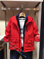 Plain coat E·LAND KIDS male 110cm,120cm,130cm,140cm,150cm,160cm gules spring and autumn college Zipper shirt No model routine No detachable cap other blending other Polyester 100%