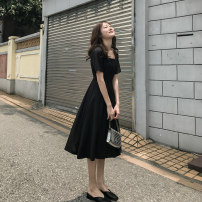 Dress Summer of 2019 Mid length dress singleton  Short sleeve commute One word collar High waist Solid color Condom A-line skirt routine Others 18-24 years old SX3053 31% (inclusive) - 50% (inclusive) polyester fiber S,M,L,XL,2XL Picture color