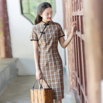 cheongsam Summer 2020 S,M,L,XL Red, blue, yellow Short sleeve Short cheongsam literature Low slit daily Oblique lapel lattice Piping Yu Xiang cotton 96% and above