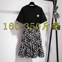 Dress Summer 2020 black 3XL (recommended 160-190 kg), 4XL (recommended 200-230 kg), 5XL (recommended 240-270 kg), 6xl (recommended 280-310 kg), 7XL (recommended 320-350 kg), 2XL (recommended 130-160 kg) Mid length dress Two piece set Short sleeve commute Crew neck Ruffle Skirt routine 25-29 years old