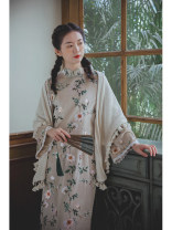 cheongsam Winter 2020 S,M,L Liuyuese, liuyuese pre-sale 12 working days Long sleeves long cheongsam Retro Low slit daily Oblique lapel Decor 25-35 years old Piping Nanfeng Valley other 96% and above