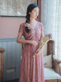 Dress Summer 2020 Blueberry pink, blueberry pink pre-sale 7 working days S,M,L longuette singleton  Short sleeve commute V-neck Loose waist Decor Socket Big swing routine Others 25-29 years old Type A Nanfeng Valley Retro Pleating, stitching, printing More than 95% cotton
