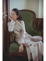 cheongsam Winter 2020 S,M,L Old apricot, old apricot presale 12 working days Long sleeves long cheongsam Retro Low slit daily Oblique lapel Decor 25-35 years old Piping Nanfeng Valley other 96% and above