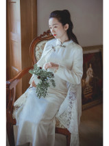 cheongsam Winter 2020 S,M,L Shallow apricot, shallow apricot pre-sale 12 working days Long sleeves long cheongsam Retro Low slit daily Oblique lapel 25-35 years old Piping Nanfeng Valley 96% and above