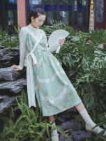 Dress Autumn 2020 Green printing, green printing pre-sale 10 working days S,M,L Mid length dress singleton  Sleeveless commute V-neck Loose waist Decor Socket Big swing routine Others 25-29 years old Type A Nanfeng Valley Retro Lace up, stitching, printing More than 95% other other