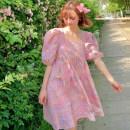 Dress Summer 2020 Rainbow lattice S spot, m spot Short skirt singleton  elbow sleeve Sweet square neck High waist lattice Cake skirt puff sleeve Type H Double summer princess
