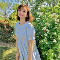 Dress Summer 2020 Blue check S spot, m spot Middle-skirt singleton  Short sleeve Sweet Crew neck High waist lattice puff sleeve Double summer 91% (inclusive) - 95% (inclusive) brocade cotton Countryside