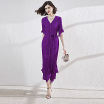 Dress Summer 2020 Purple, rose purple, rose pink, gentle, wave point 12,10,14,8,6 longuette singleton  elbow sleeve commute V-neck middle-waisted Solid color Single breasted Ruffle Skirt Lotus leaf sleeve Others 30-34 years old Type X Other / other lady C992 51% (inclusive) - 70% (inclusive) Chiffon