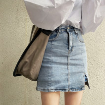 skirt Summer 2020 S,M,L White, blue Short skirt commute High waist Denim skirt Solid color Type A 18-24 years old 141Q5121 31% (inclusive) - 50% (inclusive) Denim Other / other other Button, zipper, split Korean version