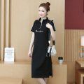 Dress Summer 2021 black M,L,XL,2XL,3XL,4XL Mid length dress singleton  Short sleeve stand collar middle-waisted routine Type H 603-DX 91% (inclusive) - 95% (inclusive)