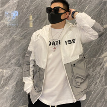 Jacket Other / other Youth fashion White, black L 100-125 kg, XL 120-135 kg, 2XL 130-150 kg, 3XL 150-170 kg, 4XL 170-190 kg routine standard Other leisure spring Long sleeves Wear out Crew neck tide youth routine Single breasted 2021 Rib hem No iron treatment Closing sleeve Geometric pattern